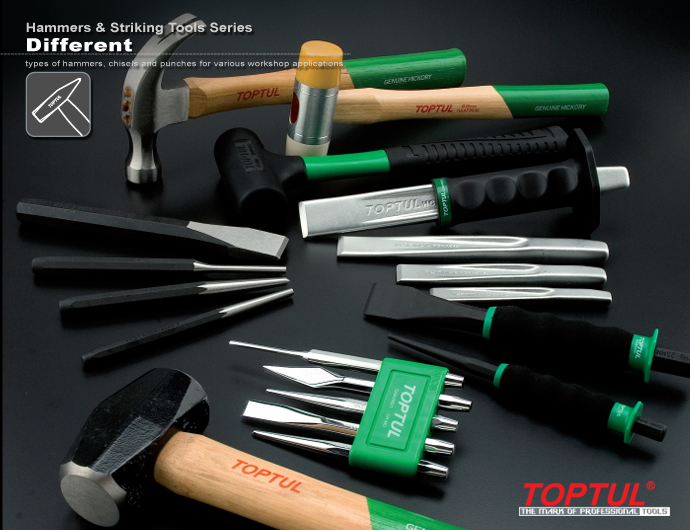 Hammers & Striking Tools Series Martillos Punzón y cincel Punch & Chisel W / Soft Grip Cinceles planos acanalados